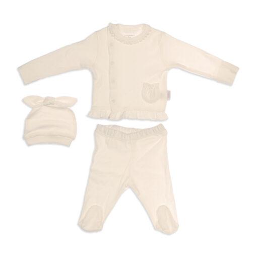 AndyWawa Organic AC21654 Kız Bebek 3lü Takım Ekru