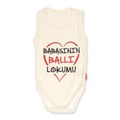 Lullaby Babasının Ballı Lokumu Yazılı Atlet Body Ekru